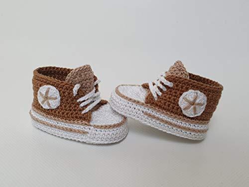 Babyschuhe gehäkelt-Sneakers-hellbraun-Turnschuhe-Sportschuhe-Krabbelschuhe