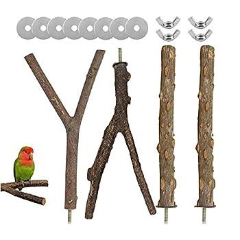 4 Pièces Perchoir en Y pour Perroquets, Support Bois pour Cage Oiseaux Perroquets, Oiseau Perchoirs Bois, Perchoirs Pour Oiseaux Bois Naturel, Jouet Support Perruche, pour Perroquet Conure Oiseaux