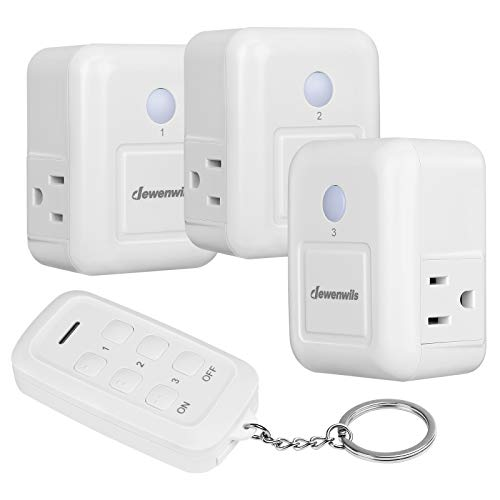 DEWENWILS Remote Control Outlet, 2 Side Outlets, No Interference Remote Outlet Switch for Electronic Appliances and Holiday Decor, 15A/1875W Heavy Duty, 100 Feet RF Range, (1 Remote+3 Outlets)