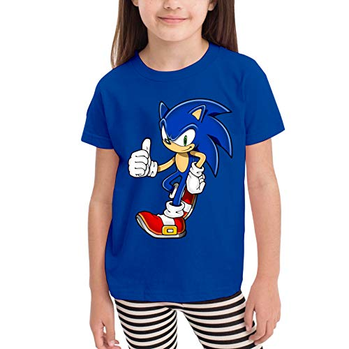 Radyk56rtyh Toddler's 100% Cotton Cool Sonic The Hedgehog Cute T-Shirt RoyalBlue US Size 5-6 Toddler