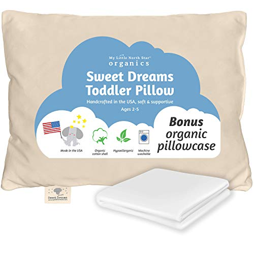 Toddler Pillow Made in USA & Pillowcase - 100% Organic Cotton -...