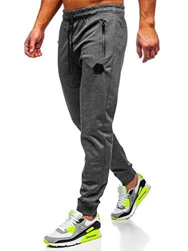 BOLF Hombre Pantalón Deportivo Jogger Fitness Entrenamiento Pantalón de Chándal Estilo Urbano Must JX8203 Grafito XXL [6F6]