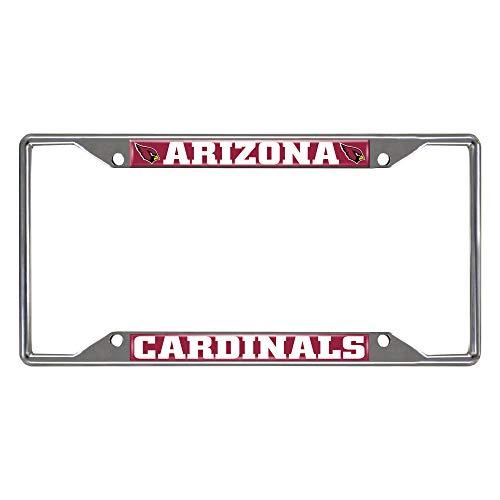 FANMATS 15525 NFL Arizona Cardinals Chrome License Plate Frame, Chrome, 6.25' x 12.25', Red