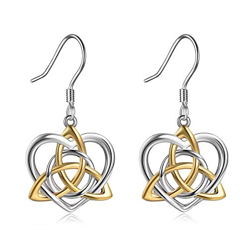 Celtics Earrings Sterling Silver Irish Celtic Knot Dangle Earrings Love Heart Drop Earrings Jewelry Mothers Day Gifts for Women Girls Mother Daughter