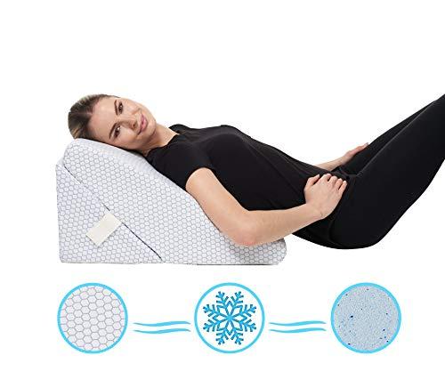 Almohada de cuña para cama de enfriamiento - Ajustable de 9 y 12 pulgadas Sistema de cojín inclinado de...