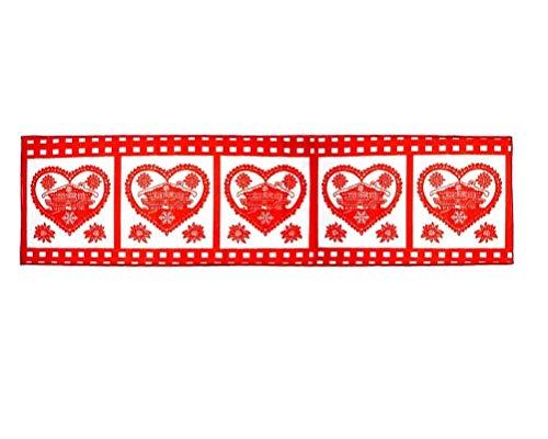 Tappeto Cucina Natalizio Antiscivolo passatoia di Natale Decorazioni 240 x 57 cm Fair (Rosso Cuore)