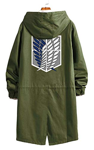 Gumstyle Anime Attack on Titan Shingeki No Kyojin Strench Coat with Hood Adult Cosplay Long Windbreaker Jacket Army Green 1 L