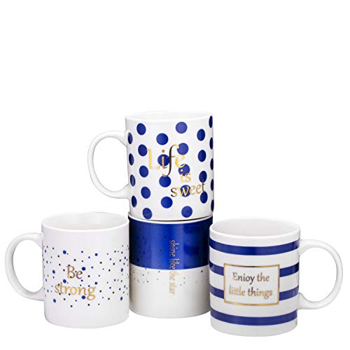 Bruntmor Set of 4 Ceramic Mugs, Best Gift Idea, Love Inspirational Coffee Mug Set Blue Colors With Gold Decal Coffee/Tea Mug Set 11 oz, Christmas Gifts