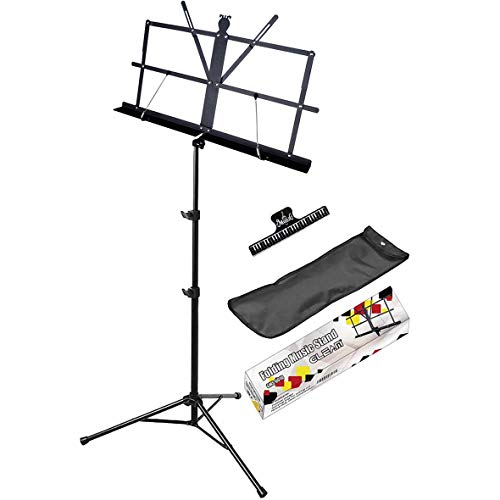 GLEAM Music Stand - Wide Shelf Bold Pipe Folding Sheet Music Holder with Carrying Bag