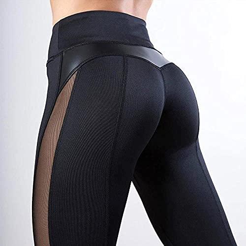 ArcherWlh Leggings Mujer,Deporte Mosaicos de Cuero Negro Pantalones de Yoga Pantalones Deportivos Gimnasio-Negro_L