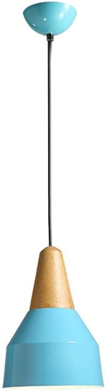 Zhang Ying ZY Moderne Metall Holzkappe Deckenleuchten Bunte Restaurant Pendelleuchte Kronleuchter für Esszimmer Küche Kaffee Bar Wohnzimmer E27 Basis (Farbe  Blau Durchmesser 20 cm)