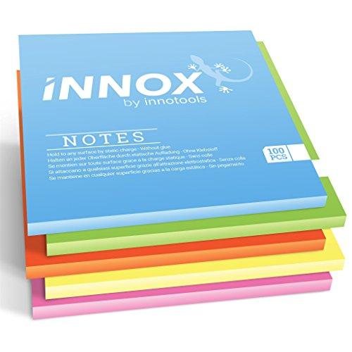 Elektrostatisch selbstklebende Haftnotiz   Für alle Oberflächen - Innovative Sticky Magnetic Notes ohne Klebstoff von INNOX®   Ideen visualisieren   Bunt, 10x10cm, 500 Blatt