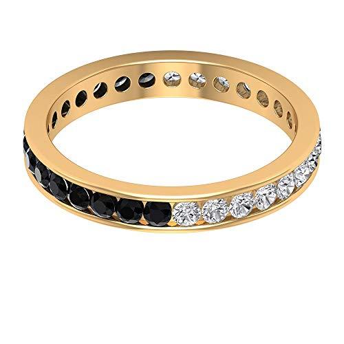 Anillo de oro con diamante negro de 1/2 ct certificado de 2 mm, anillo de eternidad de diamantes de PARTIALURLPLACEHOLDER ct, único anillo alternante de piedras preciosas, 14K Oro amarillo, Size:EU 61
