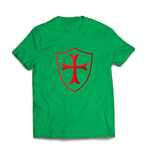 lepni.me Camisetas Hombre Escudo de los Caballeros Templarios, Cruz Roja, Orden de Caballeros Cristianos (Medium Verde Multicolor)