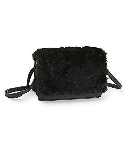 Aeropostale Womens Boxy Faux-Fur Cross Body Handbag Purse, black, One Size