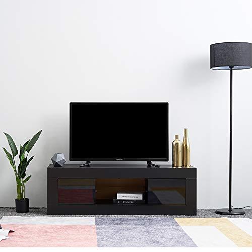 Panana TV Board Schwarz Modern TV Schrank 125 x 35 x 40cm LED TV Board Lowboard Fernsehschrank Hochglanz inkl. Mehrfarbiges LED
