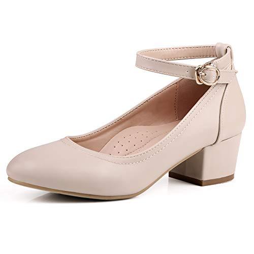 Robasiom Damen Pumps mit Niedriger Schuhe, Dicker Blockabsatz Bequem Mary Janes Shoes Riemchen Runden Damenschuhe im Büro, Hochzeit Brautschuhe