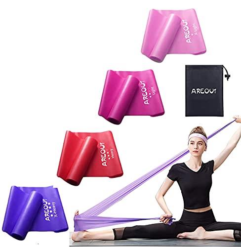 Set di 4 fasce elastiche per fitness, con una borsa per il trasporto, fasce di resistenza con set da 4 fasce per allenarsi con yoga, pilates e fisioterapia