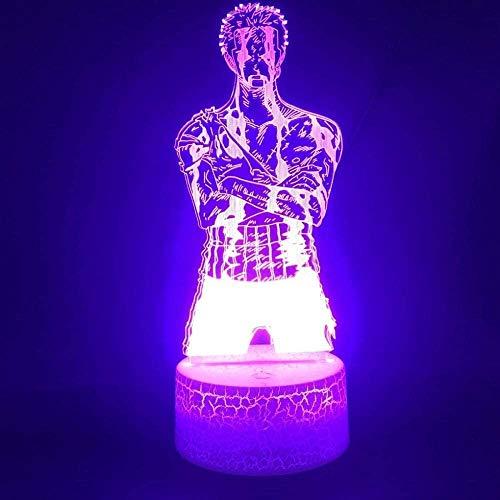 BTEVX 3D Anime LED Lampe für Kinder Illusion One Piece Solon der coole japanische Anime Present Indoor LED Nachtlicht Glowing Coloful Base 7 Farben Touch Lampe
