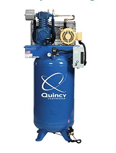 Quincy QT-7.5 Splash Lubricated Reciprocating Air Compressor - 7.5 HP, 230 Volt, 3 Phase, 60hz, 80 Gallon Vertical Tank