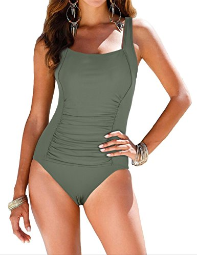 Firpearl Women's Retro Halter One Piece Bathing Suit Ruched Tummy Control Swimsuit Green US6