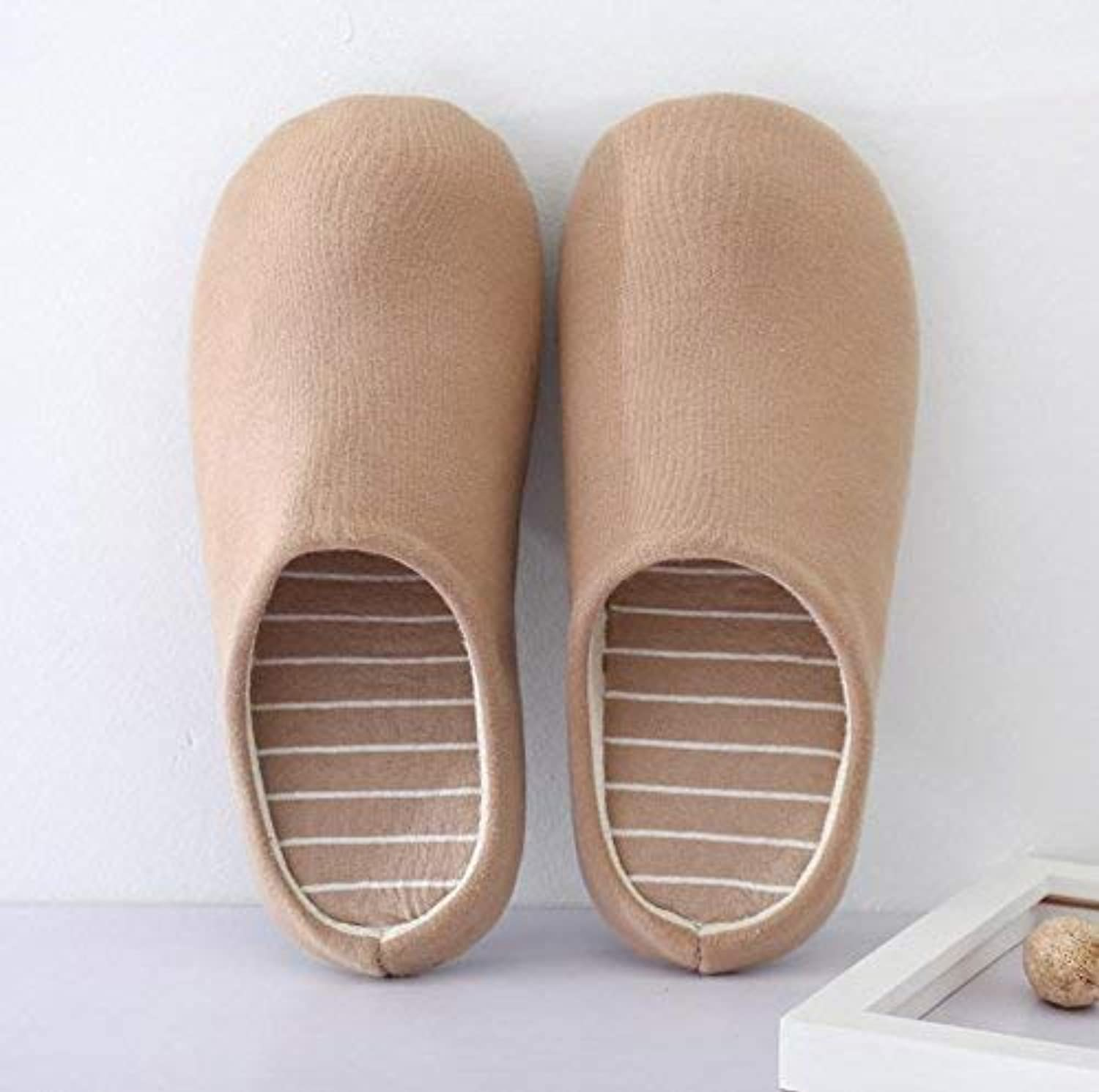 Men 's Home Slippers Indoor Non Slip Keep Warm Casual Cotton Slippers Small for Men Soild color Khaki