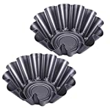 Large Non-Stick Fluted Tortilla Shell Pans, 9 inch Heat Resistant Flower Baking Molds,Brioche Mold (2 Pack)