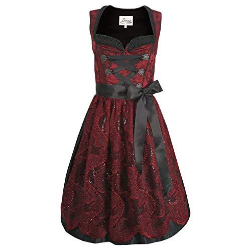 Iseaa Damen Dirndl Kleid Dirndlkleid Trachtenkleid Linda Rot 46