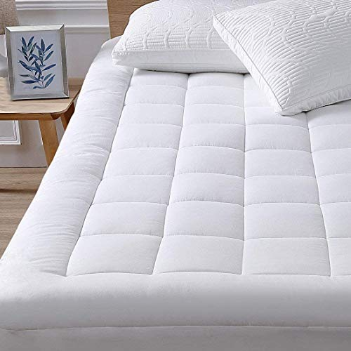 """oaskys Twin XL Mattress Pad Cover Cotton Top with Stretches to 18"""" Deep Pocket Fits Up to..."""