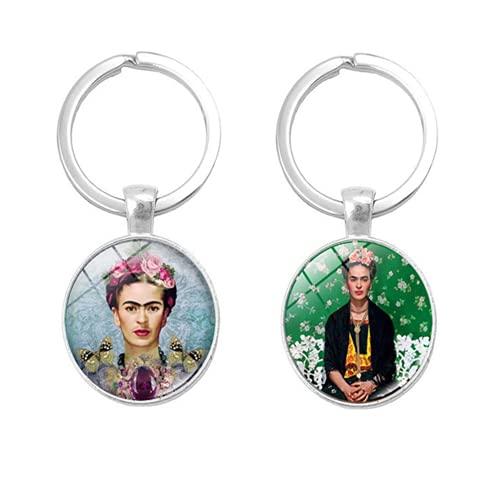 Para Frida Kahlo llavero, llavero colgante de vidrio de doble cara, artista mexicano
