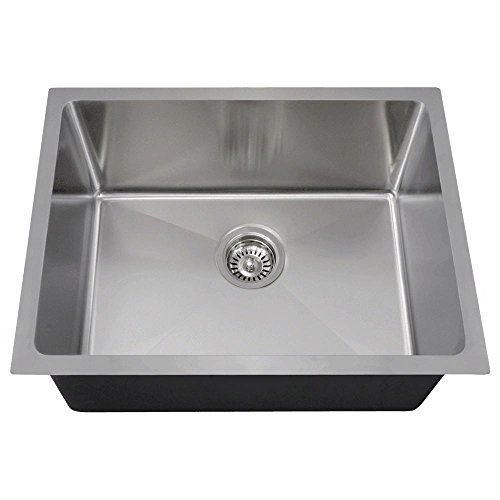 MR Direct 1823 14-Gauge Undermount Single Bowl 3/4-Inch Radius Stainless Steel Kitchen Sink
