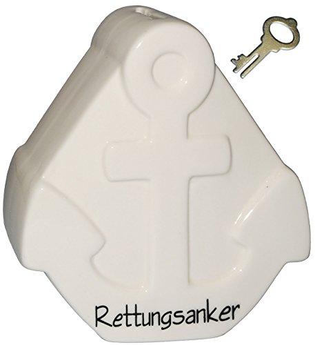 Spardose -  Rettungsanker / Anker  - mit Schlüssel und Schloss - weiß - stabile Sparbüchse aus Porzellan / Keramik - Sparschwein - ideal zum Bemalen & Bekle..