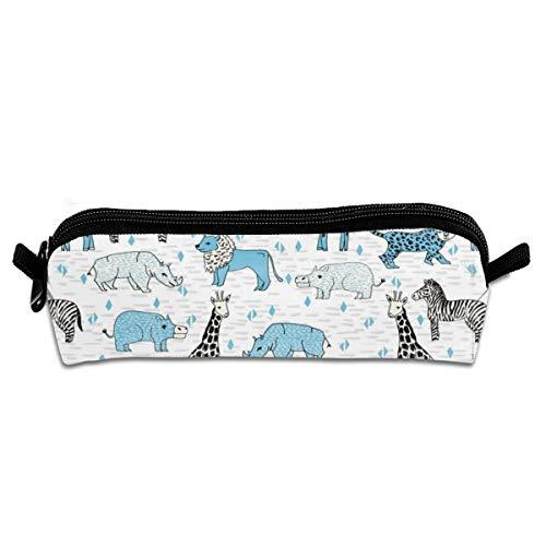 Jungle Baby Nursery Kids Sweet Cheetah Animals Elephant Giraffe Rhino Kids Safari Jungle Zoo Students Estuche de lona para lápices, estuche de papelería para maquillaje, bolsa de cosméticos de 21 x 5,5 x 5 cm