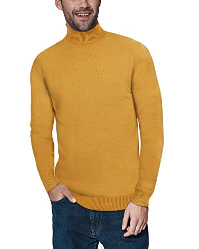 XRAY Men's Slim Fit Turtleneck Sweater Knitted Pullover Long Sleeve Sweater for Men Mustard