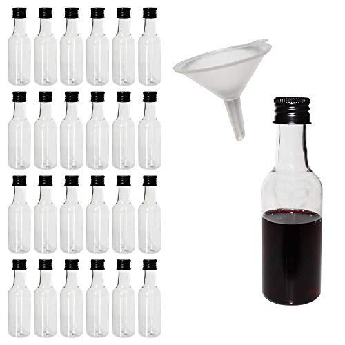 BELLE VOUS Leere Flasche Plastik 24 Pcs - 55ml Likörflaschen mit Schwarzem Deckel und Trichter zum Befüllen von Flaschen -Hochzeiten,Party Gefälligkeiten, Kunst, Bemalen und Events