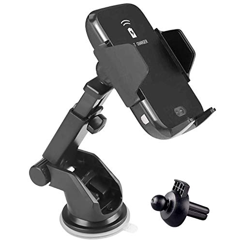 Wireless Car Charger Mount, Qi Fast Charging Auto-Clamping Car Mount Compatible for iPhone 8 Plus/8/X/XR/XS Samsung S10/S9/S8, etc AA1714