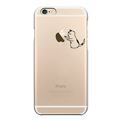 licaso iPhone TPU móvil Disney Case Transparente Clara Funda Panda Funda de Silicona iPhone6 Funda Panda Oso Gatos Case, TPU, Katze spielt mit Apfel, iPhone 6 4,7'