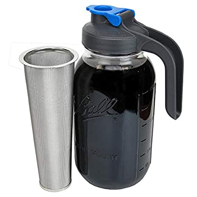 Cold Brew Mason Jar Coffee Maker with Handle by County Line Kitchen - 2 Quart, 64 oz – Durable Glass Jar, Heavy Duty Stainless Steel Filter, Flip Cap Lid With Handle For Easy Pouring
