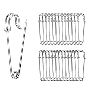 ReachTop Pack of 30 Large Safety Pins 2.76  Heavy Duty Blanket Pins Bulk Steel Spring Lock Pins Fasteners for Blankets Crafts Skirts Kilts Brooch Making