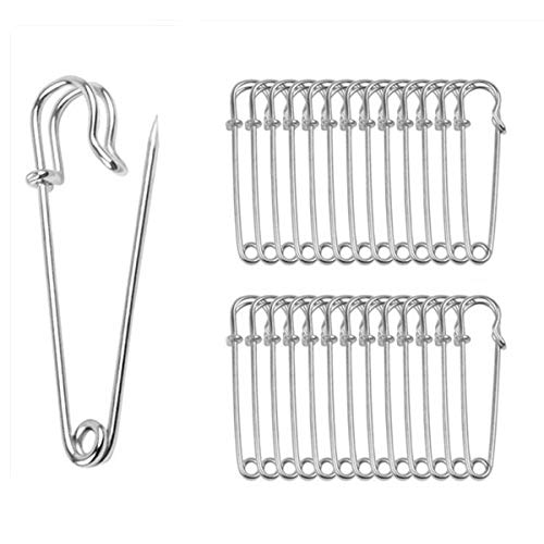 ReachTop Pack of 30 Large Safety Pins, 2.76' Heavy Duty Blanket Pins Bulk Steel Spring Lock Pins Fasteners for Blankets Crafts Skirts Kilts Brooch Making