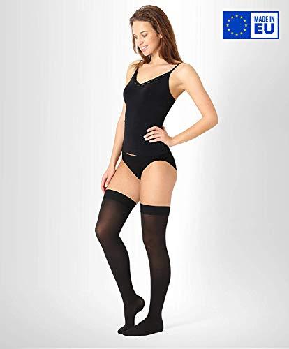 ®BeFit24 Abgestufte medizinische Kompressionsstrümpfe (18-21 mmHg, 90 Den, Klasse 1) für Damen und Herren - Stützstrümpfe für Flug und Schwangerschaft - Medical Compression Stockings - Schwarz