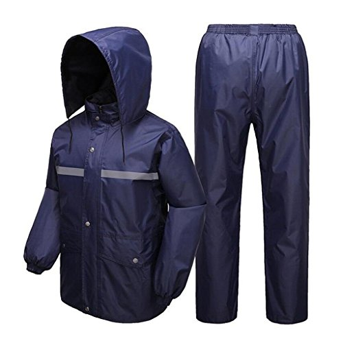 BJYG Zweistöckiger Regenanzug für Männer und Frauen Wiederverwendbare Regenbekleidung (Regenjacke und Regenhose) Erwachsene Wasserdicht Regenfest Winddicht Mit Kapuze Arbeiten im Freien Motorrad