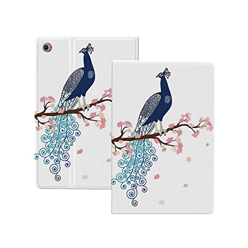 Peacock Decor Magnetic Smart Case for iPad Pro 12.9' 2020/2018,Illustration of Abstract Peacock on Blossom Tree Branch Ornate Summertime [Supports Apple Pencil Pairing & Charging] Smart Case Cover, Au