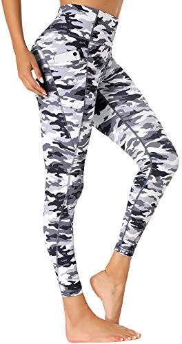 Beelu Damen Yoga Leggings Hohe Taille Blickdicht Lange Sporthose Frauen Fitnesshose mit Taschen(Camo L)