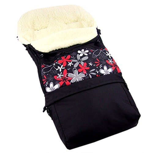 Rawstyle Winterfußsack 3 in 1 aus LAMMWOLLE (Schwarz + Rot/Graue Blumen) 110cm oder 85cm für Kinderwagenschale, Kinderwagen, Schlitten und Buggys Fußsack Wolle