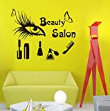 Salon de beauté vinyle autocollant mural peigne à yeux mascara parfum maquillage autocollant mural boutique décoration décoration 70X57Cm