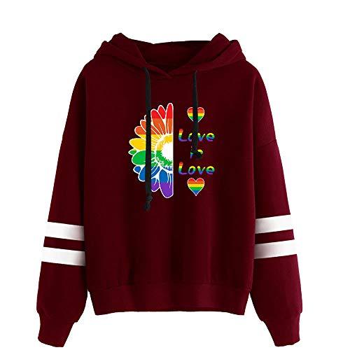 URMOSTIN Love is Love LGBT Gay Lesbian Pride Damen Kapuzenpullover Oversize Pullover Pulli Langarm Sweatshirt Kapuzenpulli Top