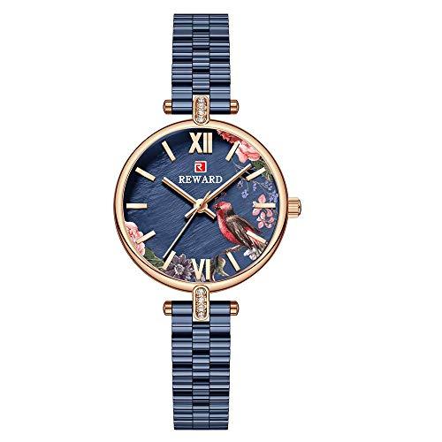 YIBOKANG Moda De Lujo para Mujer Casual Flor Pájaro Impermeable Cuarzo Reloj Casual Pastoral Estilo Acero Inoxidable Beautiful Gift Watch Watch Watch (Color : 1)