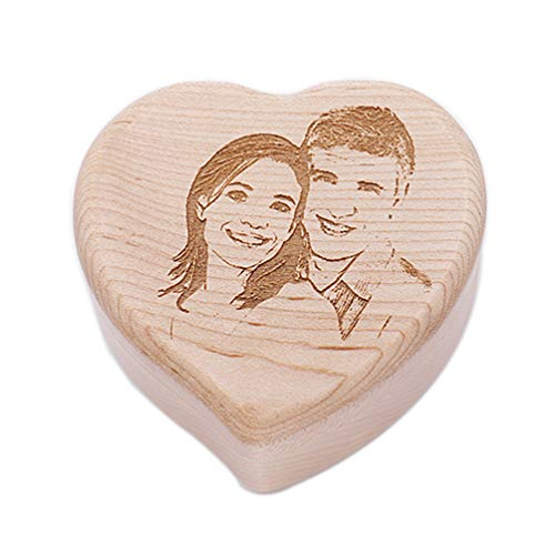ZWSLY Customized Heart Shaped Music Box Personalized Engraving Photo (Heart Birthday Song)