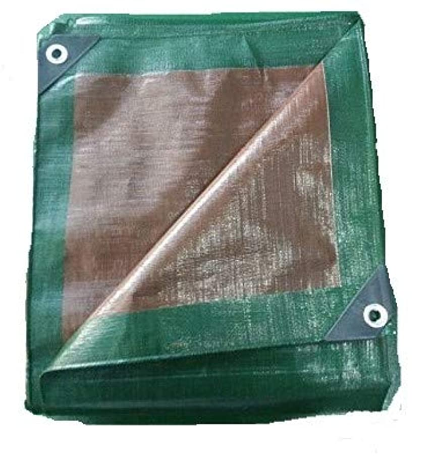 Green and Brown Reversible Multi-Purpose Waterproof Poly Tarp Cover for Tents and Weather Protection (15-Foot x 30-Foot)